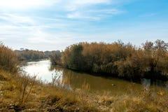 一条安静的河在秋天 免版税库存图片