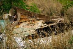 一条小木小船的击毁 库存照片
