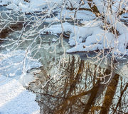 一条小河在冬天 免版税库存照片