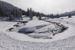 一条小河的曲线在Langis的一个美好的冬日在瑞士 免版税库存照片