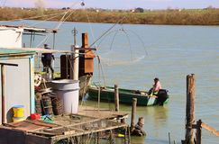一条小船的渔夫在这个区域Delta del Po二威尼托 意大利 免版税库存照片