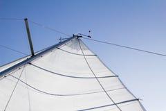 一条小船的风帆从后面,晴天 免版税库存图片