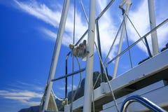 一条小船的细节在海 免版税库存照片