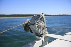 一条小船的细节在海 图库摄影