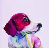 一条幼小狗的伙计画象,在霓虹颜色的小狗 库存例证
