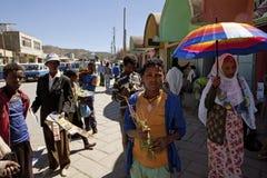 一条拥挤的街,埃塞俄比亚 库存图片