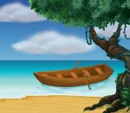 一条木小船在海运 库存例证