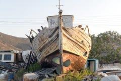 一条木小船在造船厂 库存照片