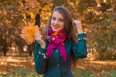 一条桃红色围巾的美丽的微笑的女孩在公园站立并且保留叶子 免版税库存图片