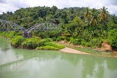 一条河在西部苏门答腊,印度尼西亚 免版税库存照片