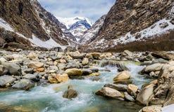 一条河在迁徙的安纳布尔纳峰,尼泊尔 免版税库存图片