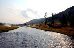 一条河在黄色石国家公园 库存照片