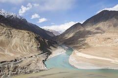 一条河在Leh 免版税图库摄影