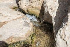 一条河的起点用清楚的水 免版税库存照片