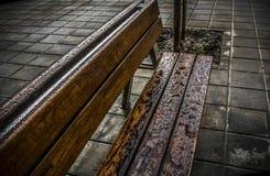 一条湿长凳 库存图片