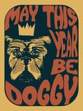 一条狗的例证与文字的也许年是在一个荧光的样式的小狗 向量例证