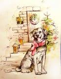 一条狗的例证在圣诞树附近的 库存例证