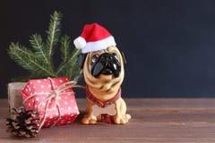 一条狗的图在圣诞节帽子的在一张木桌 来年的标志 库存图片