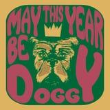 一条狗的方形的例证与文字的也许年是在一个荧光的样式的小狗 向量例证