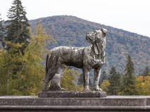 一条狗的雕象在Peles城堡的庭院里在锡纳亚,在罗马尼亚 免版税库存照片