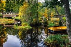 一条狭窄的河的美好的秋天视图 免版税图库摄影