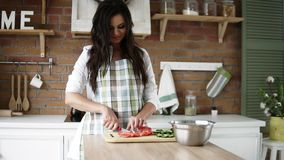 一条白色衬衣和格子花呢披肩围裙的一个美丽的怀孕的女孩切开菜,准备在她现代的沙拉,装饰 股票录像