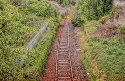 一条离开的铁路轨道在苏格兰 免版税库存图片