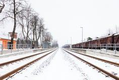 一条积雪的铁路轨道在锡古尔达 库存图片
