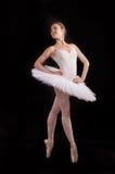 一条空白裙子的古典芭蕾舞女演员 库存照片