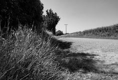 一条空的农村路的低级看法与用于电话和力量的一个遥远的电话线杆一起的 免版税图库摄影