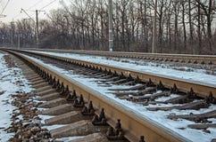 一条空的铁路路在俄罗斯 图库摄影