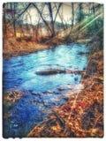 一条繁忙的起波纹的小河 库存图片