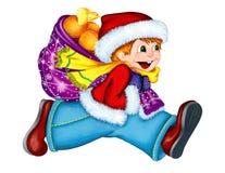 一条红色毛皮夹克、蓝色长裤、一条明亮的黄色围巾和圣诞节帽子的一个男孩充分跑在与一个红色袋子的右边orang 库存例证