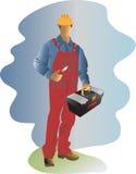 一条红色连衫裤的工作者有工具的 库存图片