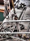 一条经典风船的甲板 免版税库存照片