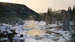 一条结冰的河在加拿大罗基斯 免版税库存照片