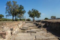 一条罗马路在阿波罗Smintheion sanc考古学站点  库存图片
