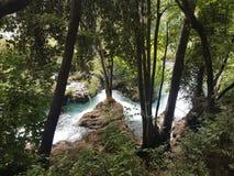 一条美丽的小河在Krka克罗地亚的心脏 库存照片