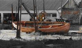 一条老小船的击毁 库存图片