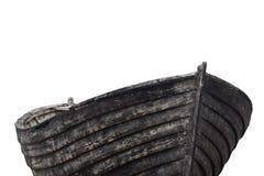 一条老渔木头小船的侧视图 免版税库存照片