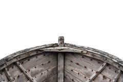 一条老渔木头小船的内部 图库摄影