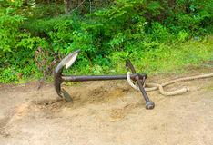 一条老船锚和绳索在森林里 库存照片