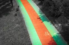 一条自行车道路在公园 免版税库存图片