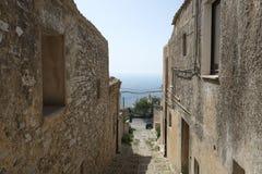 一条街道在埃里切,意大利的中心 库存图片