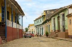 一条街道在特立尼达,古巴 库存照片