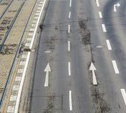 一条街道的天线有路标的在科隆 免版税库存照片