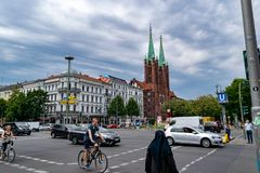 一条街道的看法在柏林 免版税库存照片