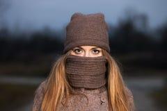一条被编织的帽子和围巾的女孩在晚上在秋天结冰在自然 库存照片