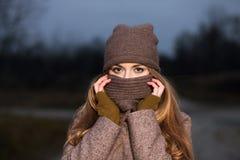 一条被编织的帽子和围巾的女孩在晚上在秋天结冰在自然 库存图片