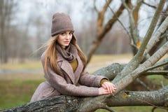 一条被编织的帽子和围巾的女孩在秋天的一棵下落的树在自然 免版税库存照片